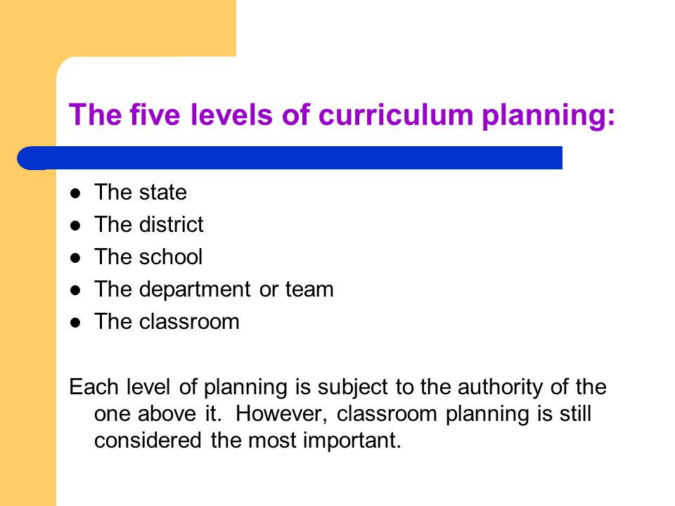 The five levels of curriculum planning: