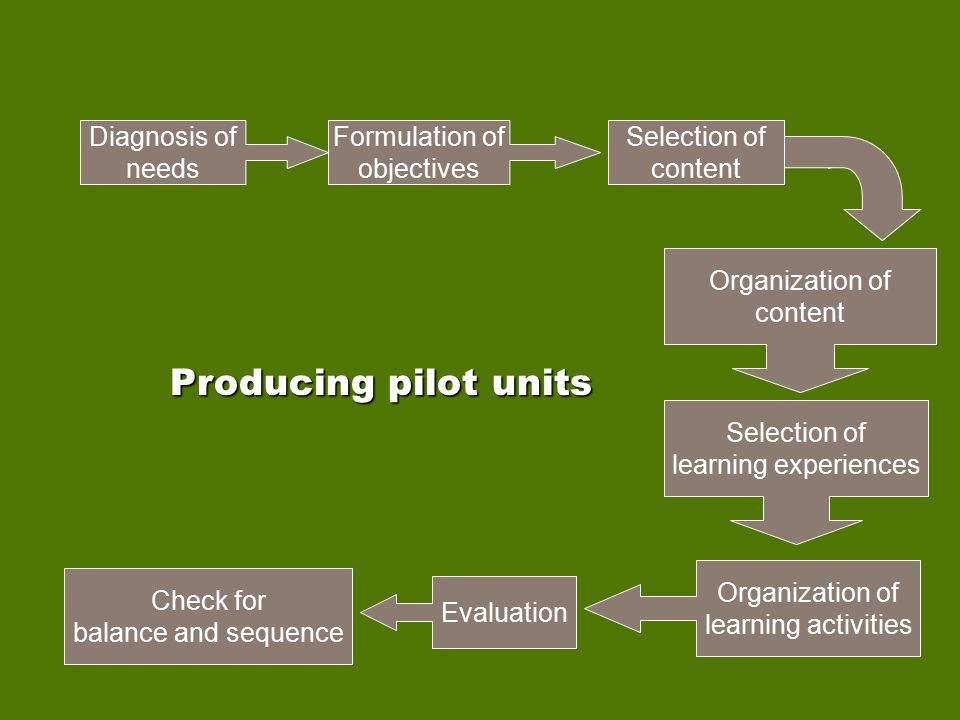 Producing pilot units Diagnosis of needs Formulation of objectives