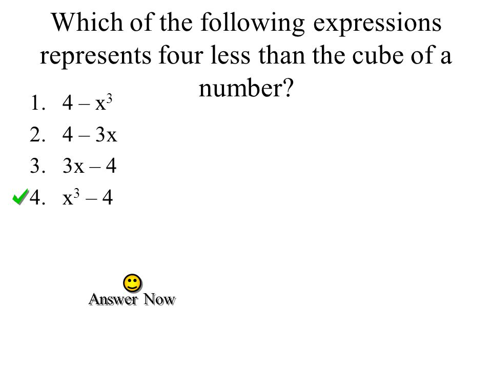 Which of the following expressions represents four less than the cube of a number