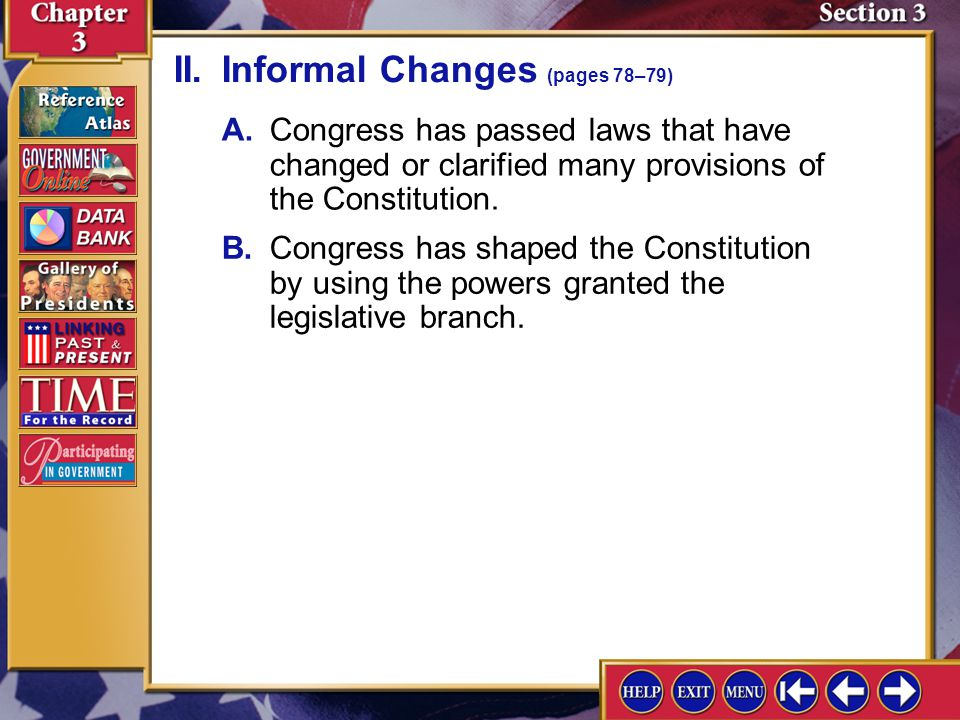 II. Informal Changes (pages 78–79)