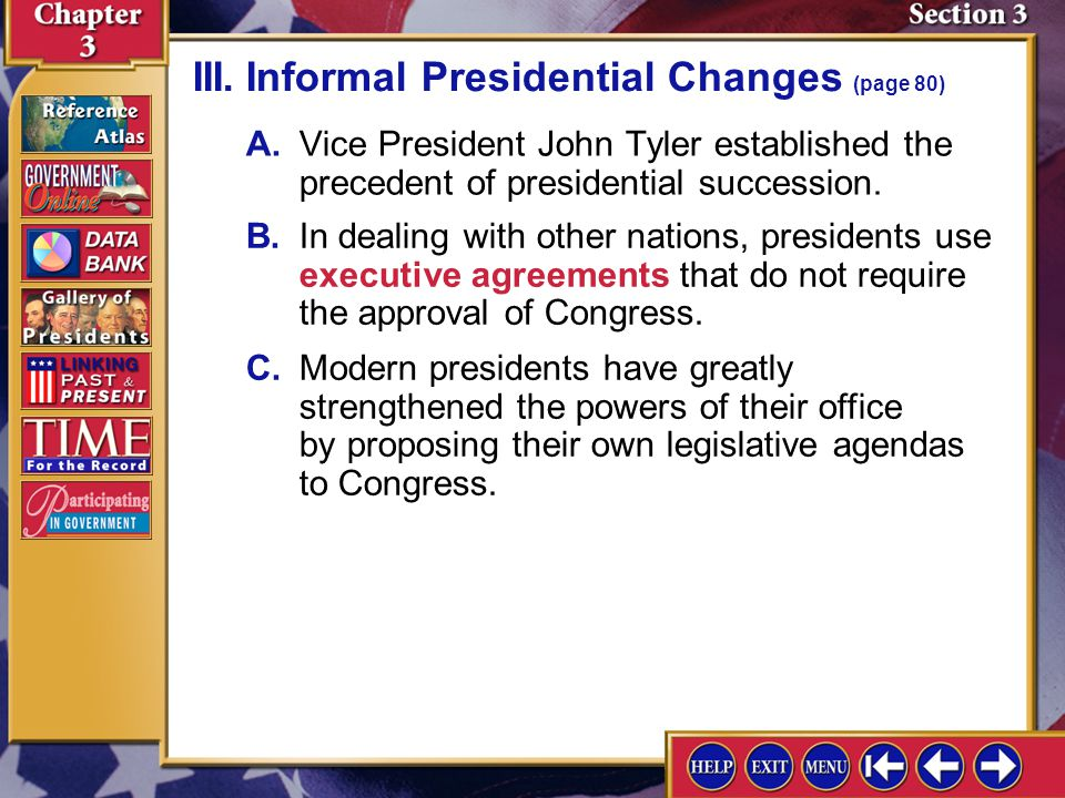III. Informal Presidential Changes (page 80)