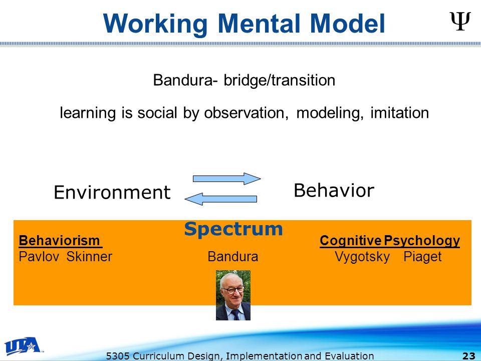 Working Mental Model Behavior Environment Spectrum