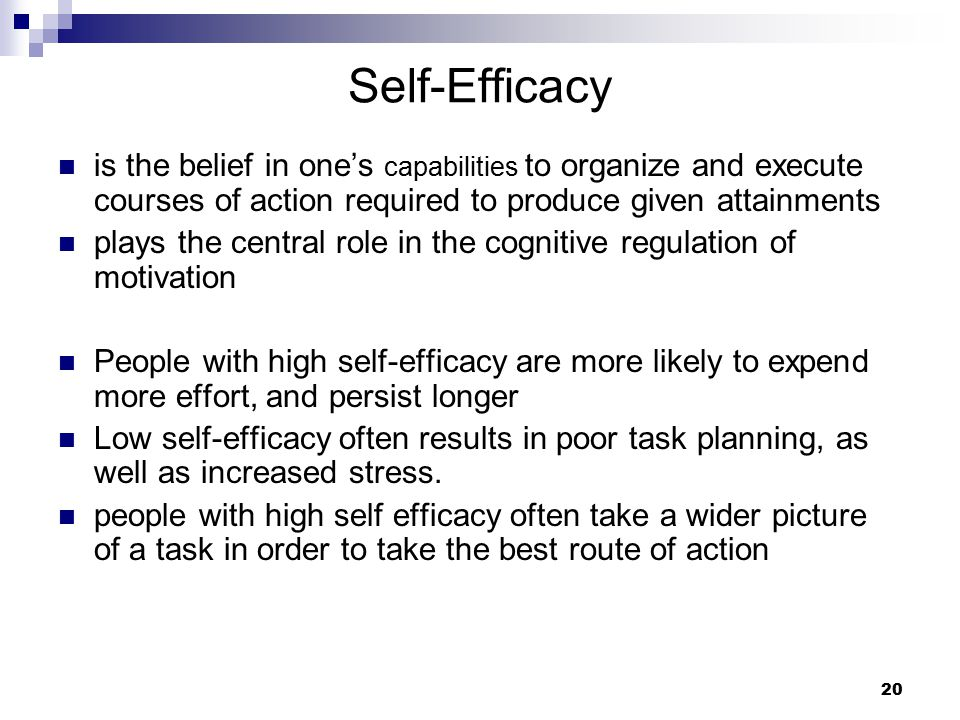 Self-Efficacy is the belief in one's capabilities to organize and execute courses of action required to produce given attainments.