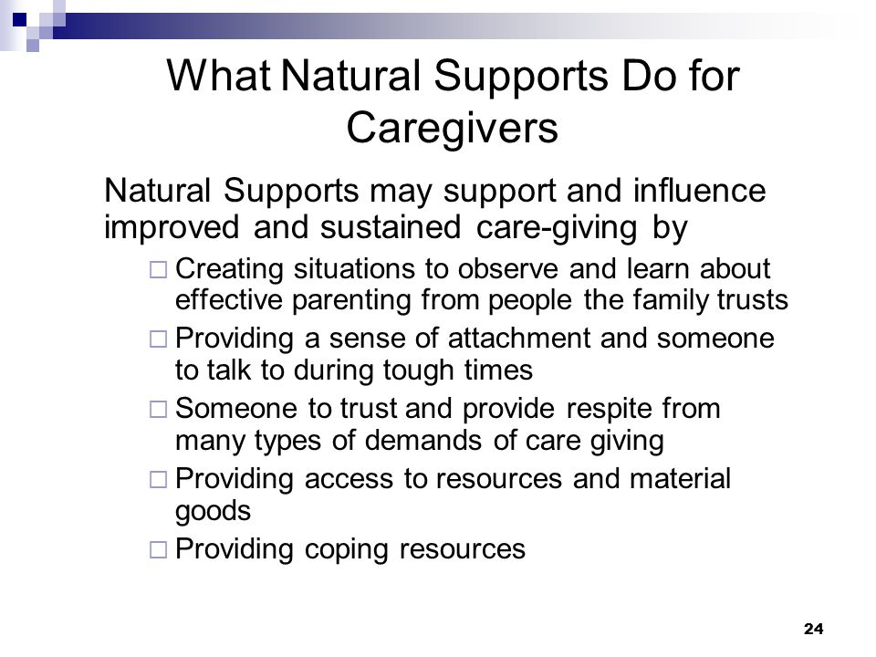 What Natural Supports Do for Caregivers
