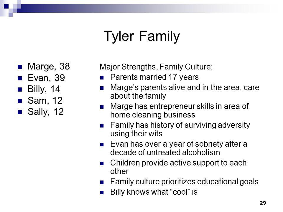 Tyler Family Marge, 38 Evan, 39 Billy, 14 Sam, 12 Sally, 12