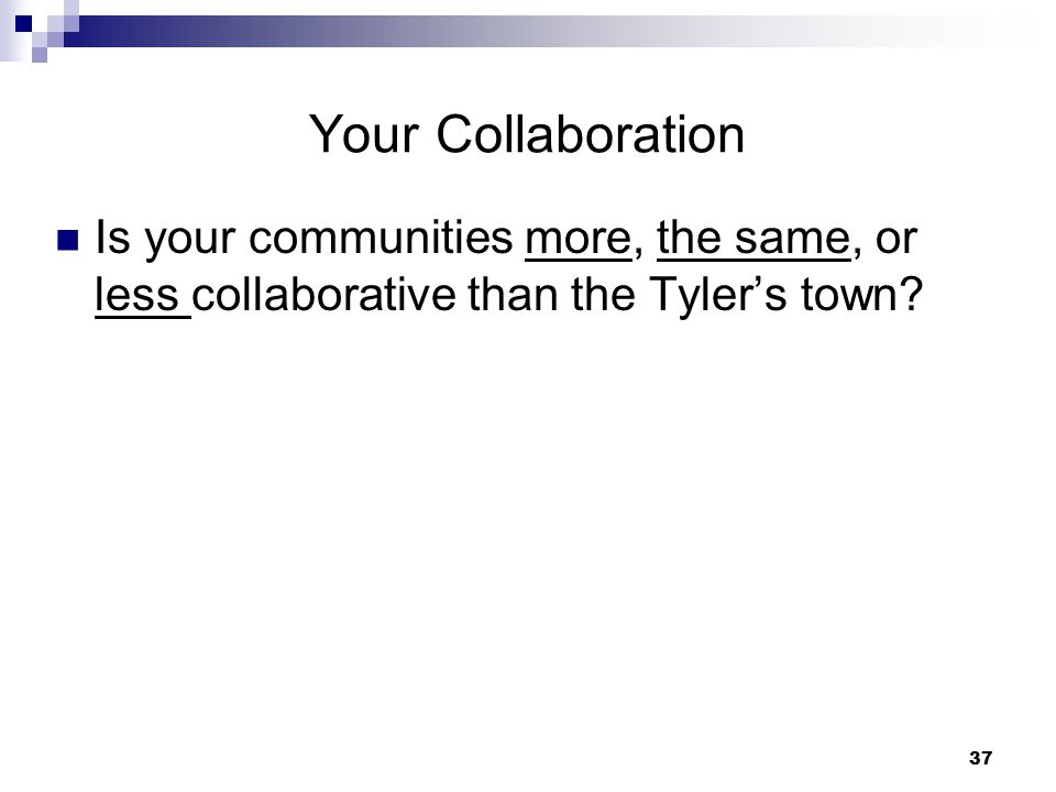 Your Collaboration Is your communities more, the same, or less collaborative than the Tyler's town