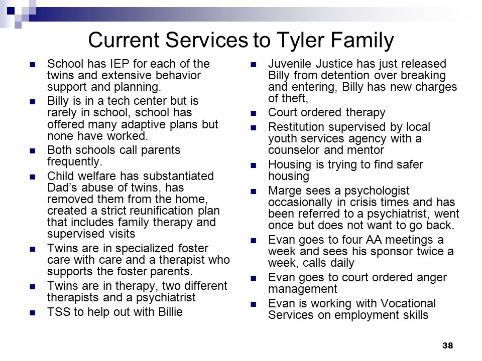 Current Services to Tyler Family