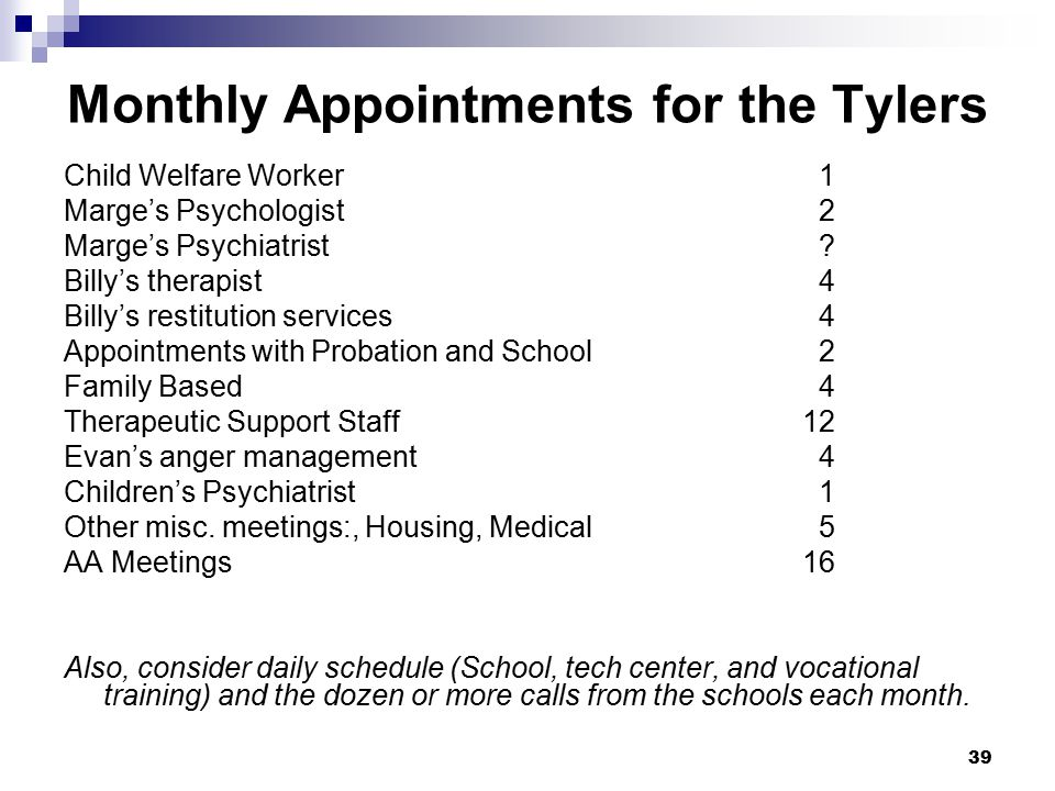 Monthly Appointments for the Tylers