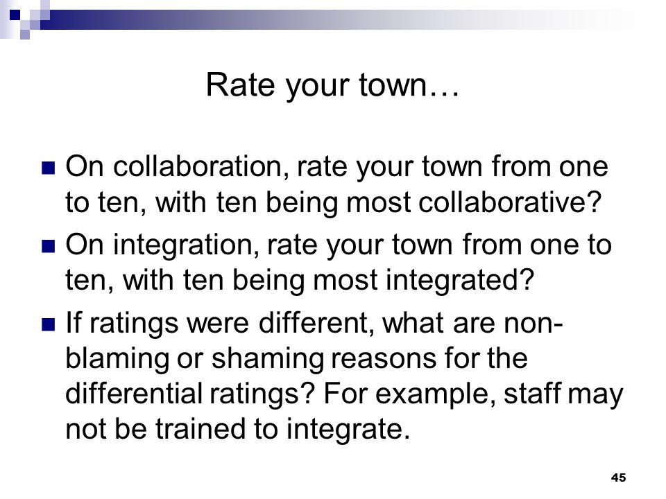 Rate your town… On collaboration, rate your town from one to ten, with ten being most collaborative