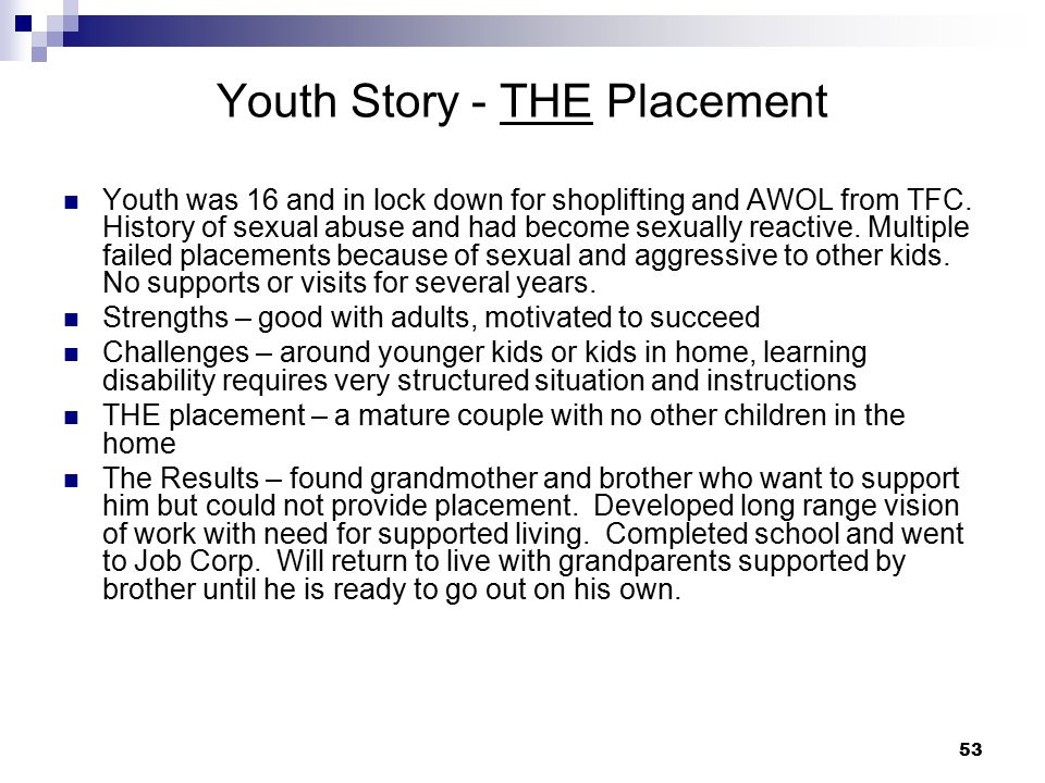 Youth Story - THE Placement