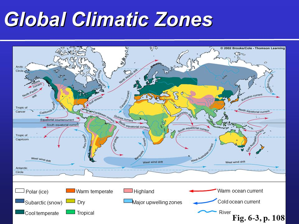 Global Climatic Zones Fig. 6-3, p. 108 Polar (ice) Warm temperate