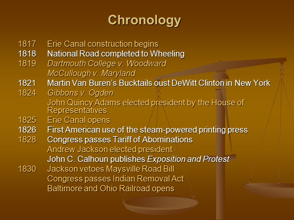Chronology 1817 Erie Canal construction begins