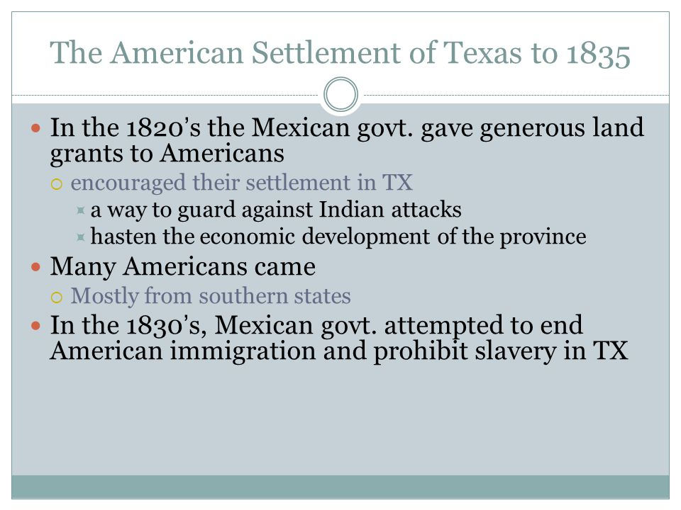 The American Settlement of Texas to 1835