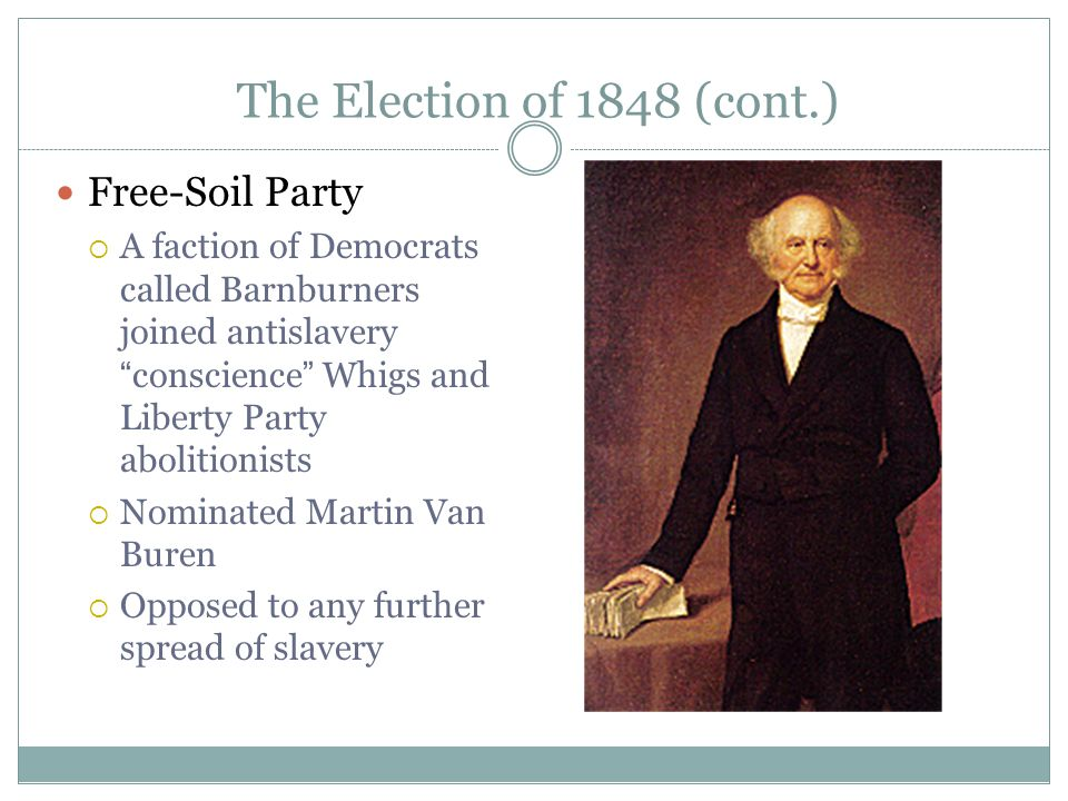 The Election of 1848 (cont.) Free-Soil Party