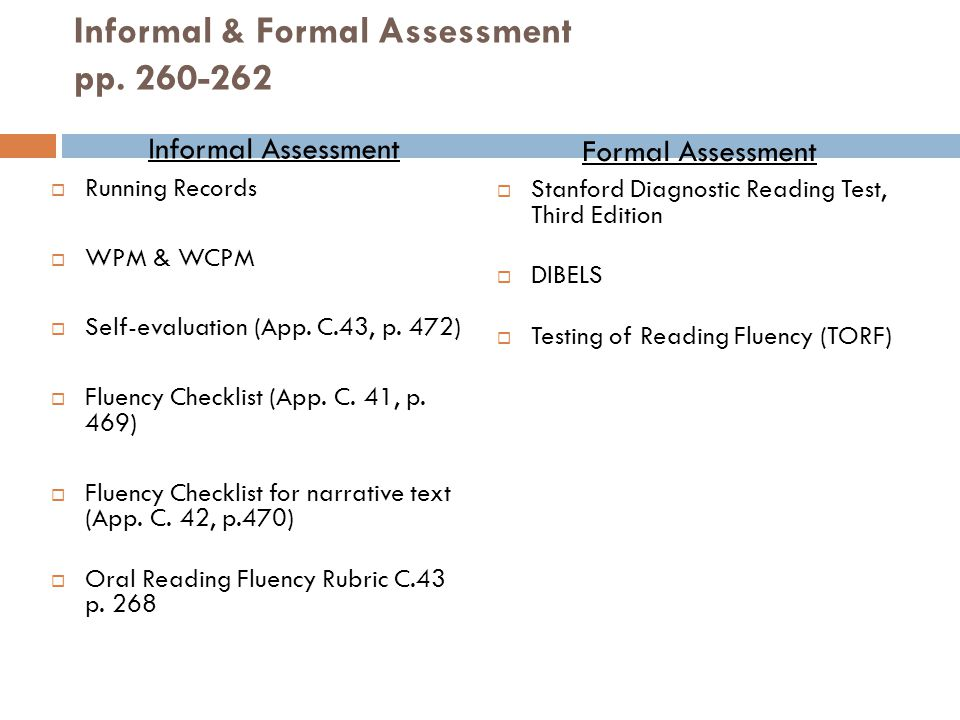 Informal & Formal Assessment pp. 260-262
