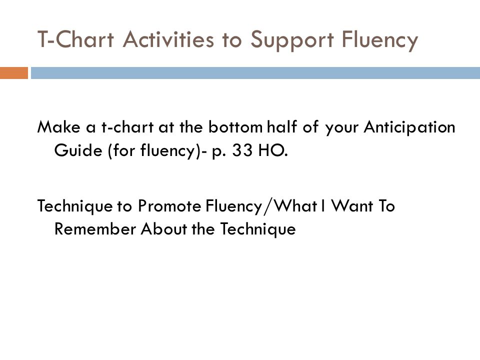 T-Chart Activities to Support Fluency