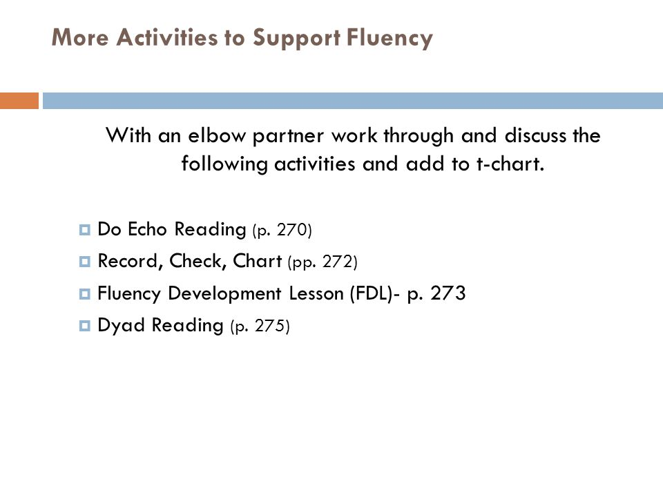 More Activities to Support Fluency
