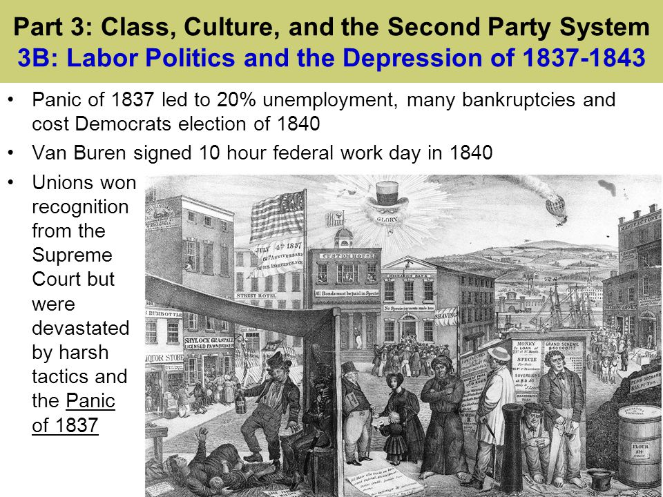 Part 3: Class, Culture, and the Second Party System 3B: Labor Politics and the Depression of 1837-1843