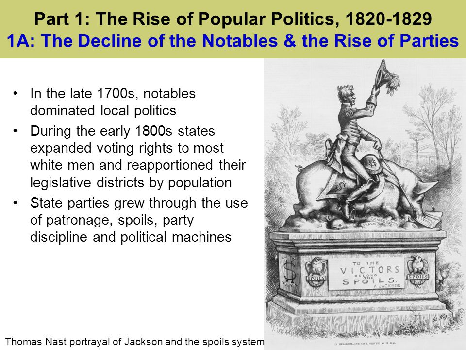 Part 1: The Rise of Popular Politics, 1820-1829 1A: The Decline of the Notables & the Rise of Parties