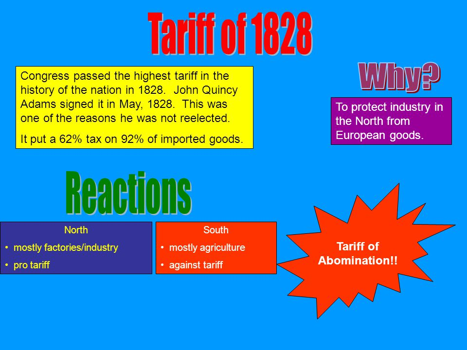 Tariff of 1828 Why Reactions