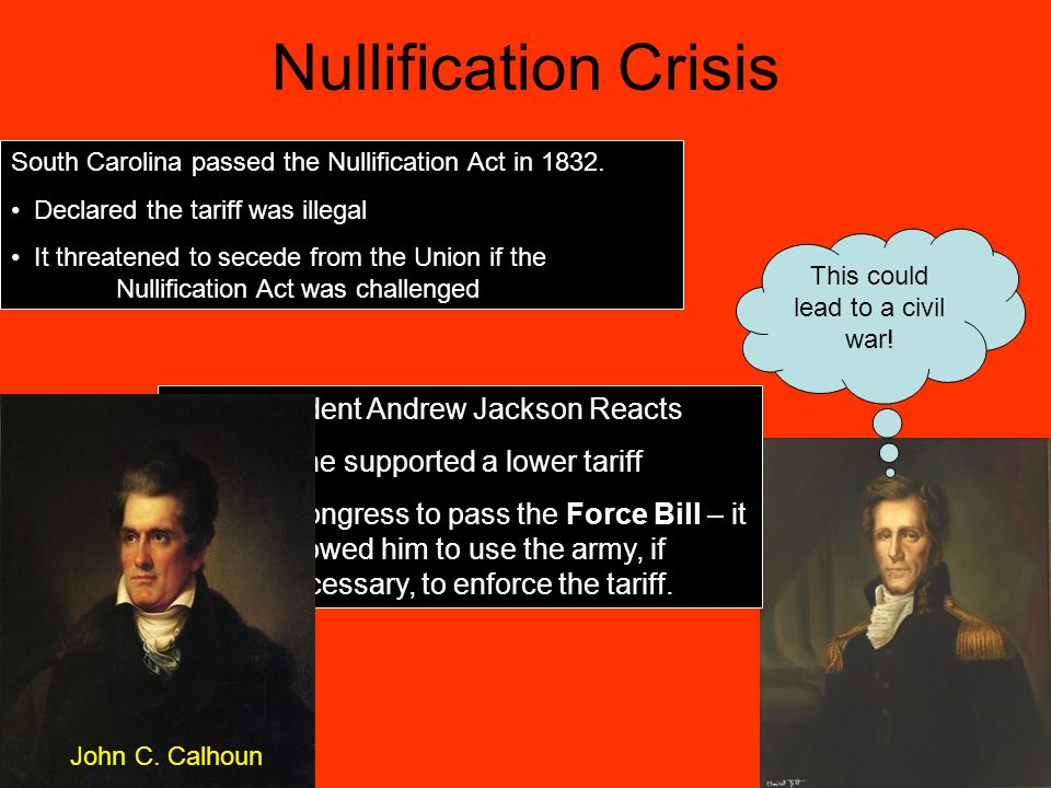 Nullification Crisis President Andrew Jackson Reacts