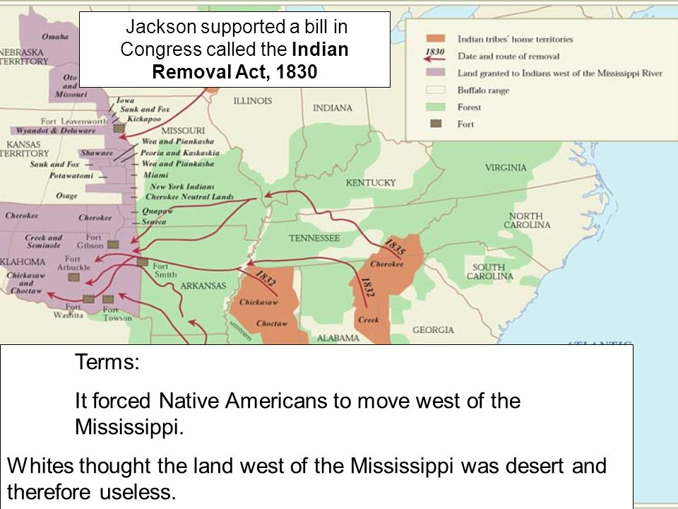 It forced Native Americans to move west of the Mississippi.