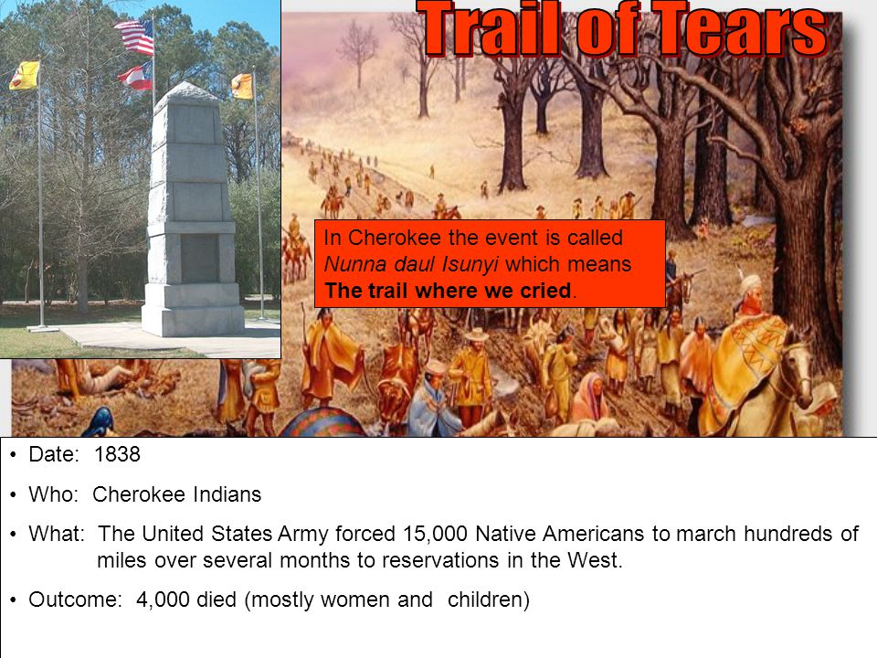 Trail of Tears In Cherokee the event is called Nunna daul Isunyi which means The trail where we cried.