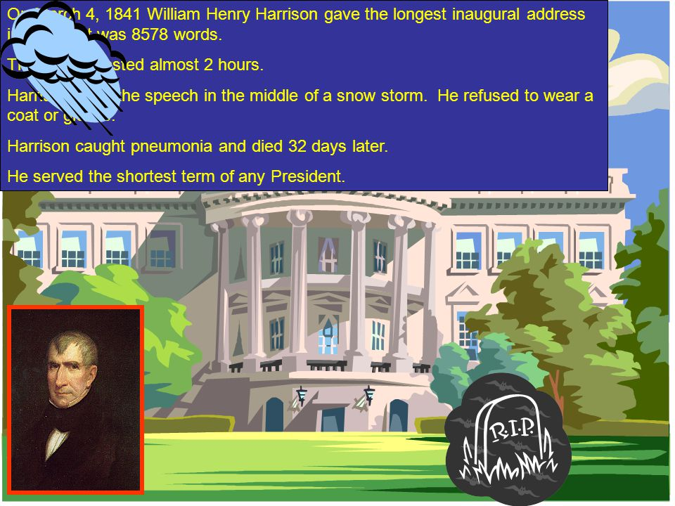 On March 4, 1841 William Henry Harrison gave the longest inaugural address in history; it was 8578 words.