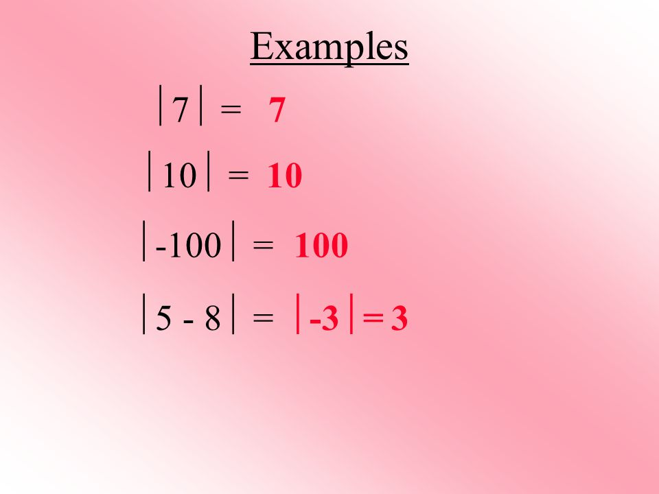 Examples 7 = 7 10 = 10 -100 = 100 5 - 8 = -3= 3