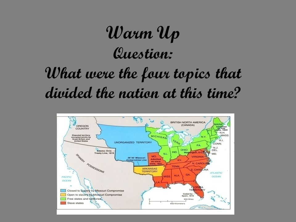Warm Up Question: What were the four topics that divided the nation at this time
