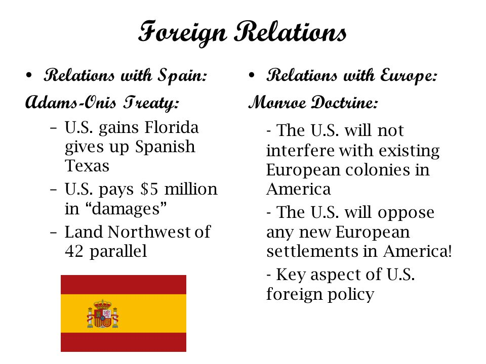 Foreign Relations Relations with Spain: Adams-Onis Treaty: