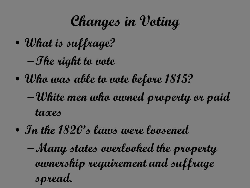 Changes in Voting What is suffrage The right to vote