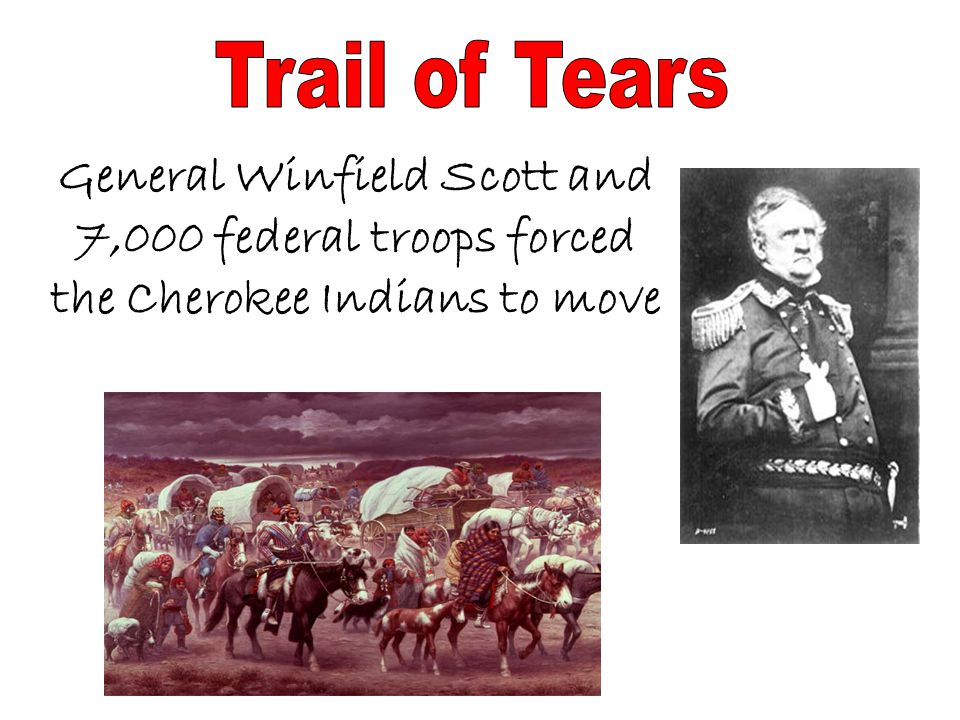 Trail of Tears General Winfield Scott and 7,000 federal troops forced the Cherokee Indians to move