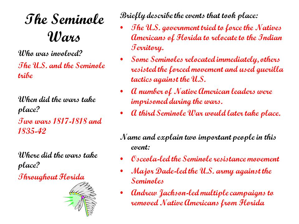 The Seminole Wars Briefly describe the events that took place: