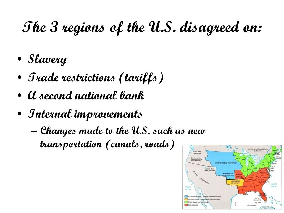 The 3 regions of the U.S. disagreed on: