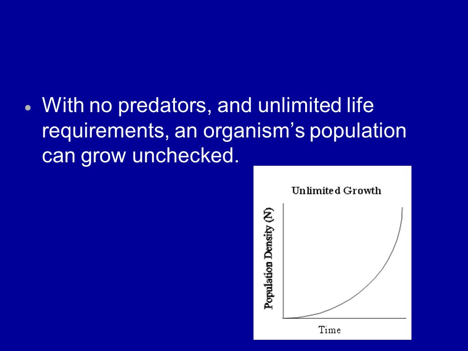 With no predators, and unlimited life requirements, an organism's population can grow unchecked.