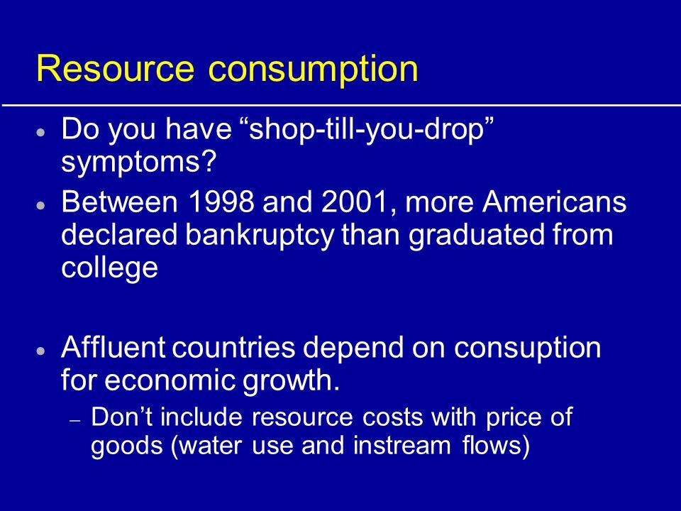 Resource consumption Do you have shop-till-you-drop symptoms