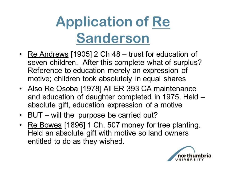 Application of Re Sanderson