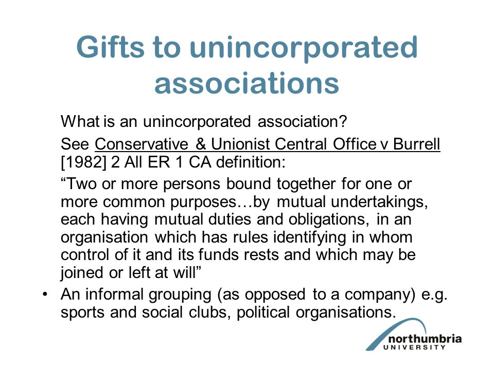 Gifts to unincorporated associations
