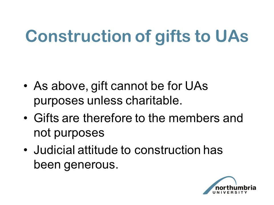 Construction of gifts to UAs
