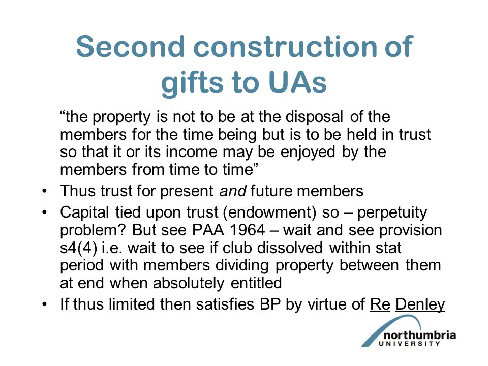 Second construction of gifts to UAs