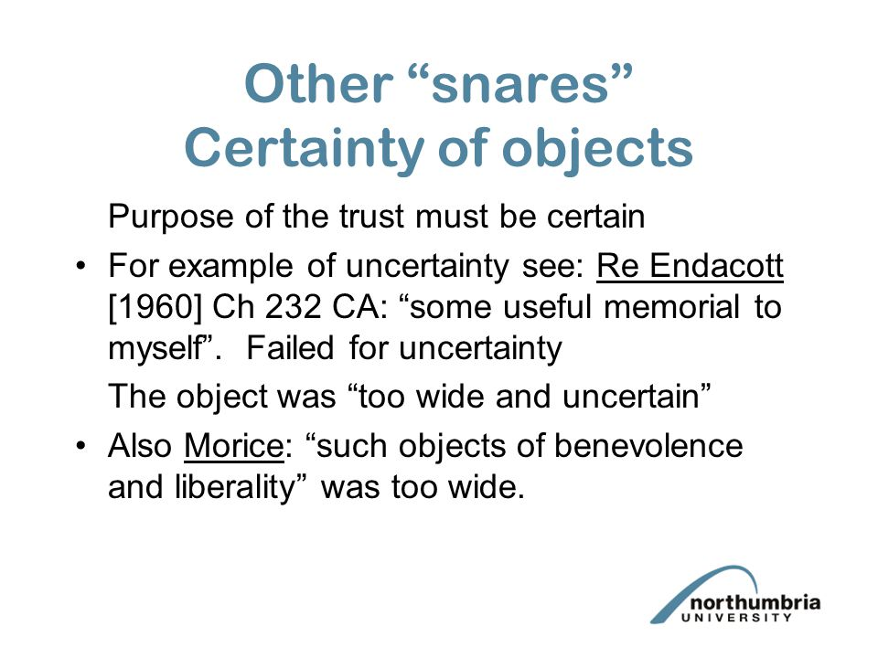 Other snares Certainty of objects