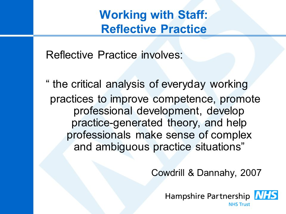 reflection on ward management Current issues and policy update for ward managers the interface between health care management and clinical as well as your reflections on the code.