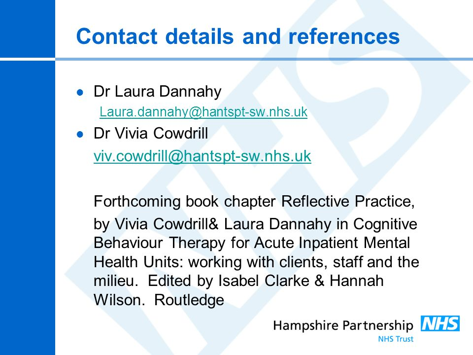 Contact details and references