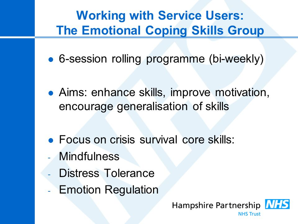 Working with Service Users: The Emotional Coping Skills Group