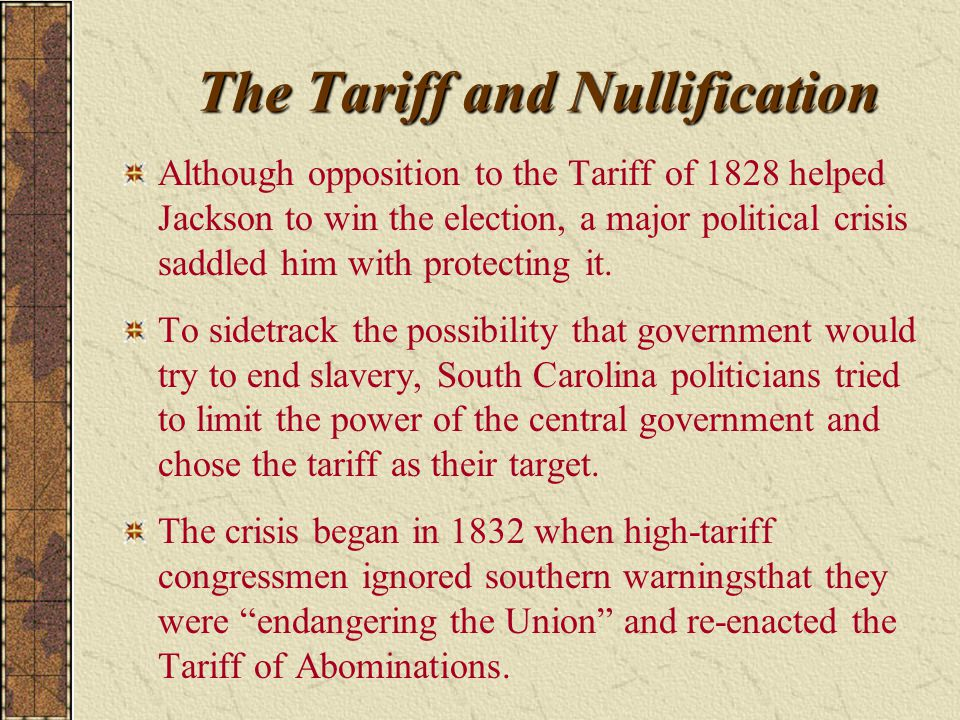 The Tariff and Nullification