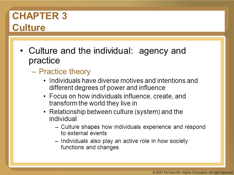 CHAPTER 3 Culture Culture and the individual: agency and practice