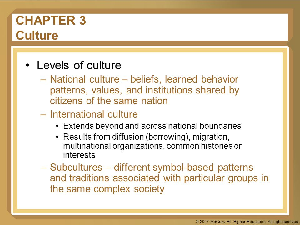 CHAPTER 3 Culture Levels of culture