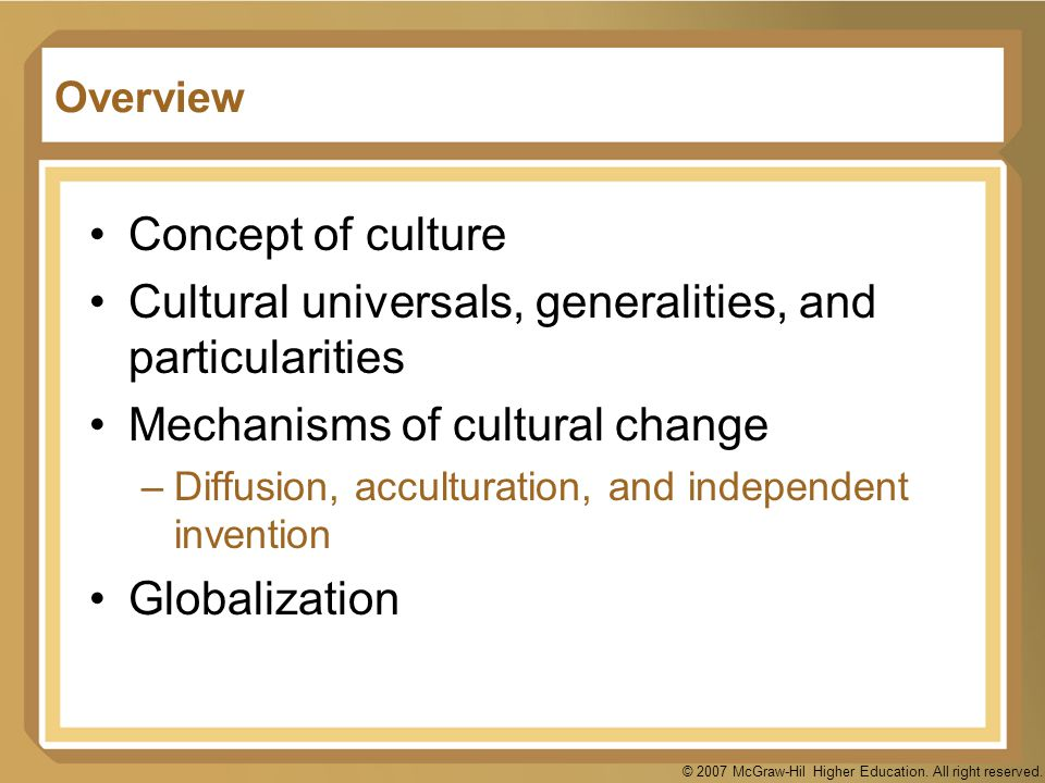 Cultural universals, generalities, and particularities