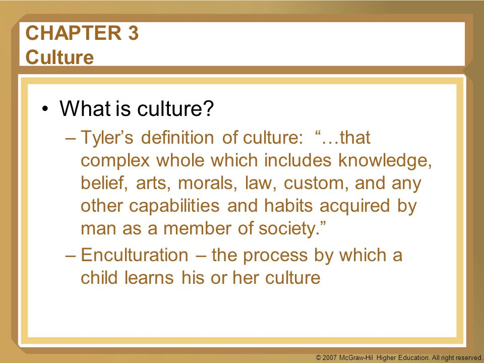 What is culture CHAPTER 3 Culture